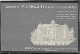 Paris Exposition 1900 - Publicité Parfumerie Pinaud 18 Place Vendôme - Carte Gaufrée Neuve - Pavillon De L'Autriche - Exhibitions