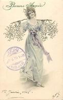-ref-B195- Fantaisies - Femmes - Femmes - Illustrateur - Illustrateurs - Bonne Année - Gui - Carte Bon Etat - - Femmes