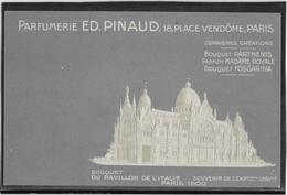 Paris Exposition 1900 - Publicité Parfumerie Pinaud 18 Place Vendôme - Carte Gaufrée  Neuve - Pavillon De L'Italie - Exhibitions