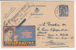 Phosphatine Falières Illustrated Postal Stationery Carte Postale Postkaart Censored Travelled 1944 Callenelle Pmk - Ganzsachen