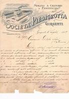 B3233- Girgenti, Fattura Molini E Pastificio Società Piedigrotta 1909 - Italie