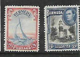 Bermuda, 1940, 2d Ultramarine & Scarlet, 3d Black & Blue, MH * - Bermuda