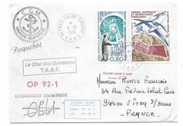 TAAF PAQUEBOT MARION DUFRESNE Alfred Faure CROZET  OP 92-2 - French Southern And Antarctic Territories (TAAF)