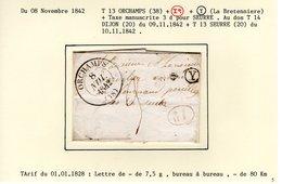 Jura : T 13 ORCHAMPS + Id + Boite Rurale Y ( La Bretenniere ) + Taxe Manuscrite 3 D  Sur LAC En 1842       TTB - 1801-1848: Précurseurs XIX