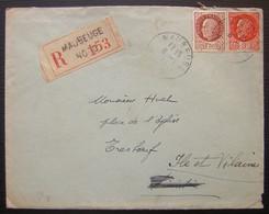 Maubeuge (Nord) 1943 Lettre Recommandée Pour Monsieur Huet à Tresboeuf (ile Et Vilaine) - Marcophilie (Lettres)