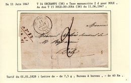 Jura : T 14 ORCHAMPS + Taxe Manuscrite 2 D  Sur LAC En 1847 - Marcophilie (Lettres)