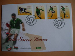 Irlande. 1446/49 Football: Irish Soccer Heroes. Cachet Frappé Le 14.5.2002. - FDC