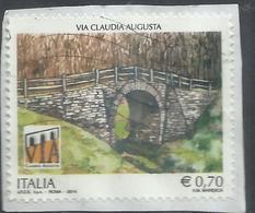 ITALIA REPUBBLICA ITALY REPUBLIC 2014 PATRIMONIO ARTISTICO E CULTURALE PONTE ROMANO VIA CLAUDIA AUGUSTA € 0,70USATO USED - 6. 1946-.. Repubblica