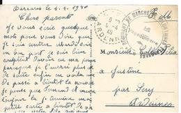 LE BARCARES Pyrénées Orientales Cachet 2° Régiment De Marche De Volontaires étrangers 1940 Cpa PORT VENDRES El Kant ...G - Marcophilie (Lettres)