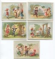 TROYES  Magasin Mode Gagon Garnier Bel Ensemble 5 Chromos Romanet Jeux Enfants Balançoire Colin Maillard Chasse Papillon - Trade Cards