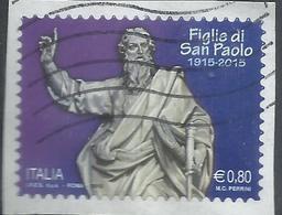 ITALIA REPUBBLICA ITALY REPUBLIC  2015 FONDAZIONE PIA SOCIETÀ FIGLIE DI SAN PAOLO € 0,80 USATO USED OBLITERE' - 6. 1946-.. Repubblica