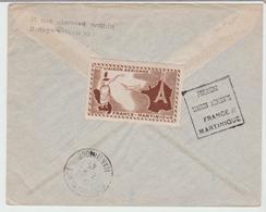 """1947 - """" 1ère Liaison Aérienne FRANCE / MARTINIQUE """" De Paris Aviation / LSC De 1947 Pour Ft De France TB - Marcophilie (Lettres)"""