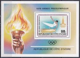Elfenbeinküste Ivory Coast Cote D'Ivoire 1979 Sport Spiele Olympia Olympics Moskau Turnen Gymnastics, Bl. 15 ** - Côte D'Ivoire (1960-...)