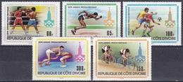 Elfenbeinküste Ivory Coast Cote D'Ivoire 1979 Sport Spiele Olympia Olympics Moskau Fußball Football Ringen, Mi. 614-8 ** - Côte D'Ivoire (1960-...)