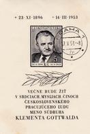 CSSR, 1953, 795 Block 14, USED, Tod Von Klement Gottwald. - Blocs-feuillets