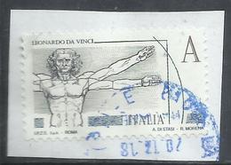 ITALIA REPUBBLICA ITALY 2015 LEONARDO DA VINCI LEONARDESCA UOMO SECONDO VITRUVIO VITRUVIANO A USATO USED OBLITERE' - 6. 1946-.. Repubblica