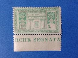 MARCA DA BOLLO COMUNALE NUOVA MNH** CON FASCIO - 3 LIRE DIRITTI DI STATO CIVILE - 1900-44 Vittorio Emanuele III
