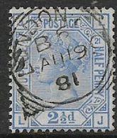 Great Britain, Queen Victoria, 1881, 2 1/2d Blue, Plate 21, LONDON  E.C. B6  AU 19 81 C.d.s. - 1840-1901 (Victoria)