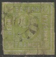 Bavaria - 1850-8 Numeral 9k Yellowish-green Used    SG 16 - Bavaria