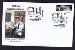 ESPAÑA 2018 MATASELLO ESPECIAL QUIMICO ANTONIO GONZALEZ QUIMICA - PUERTO DE LA CRUZ - ISLAS CANARIAS - 1931-Hoy: 2ª República - ... Juan Carlos I