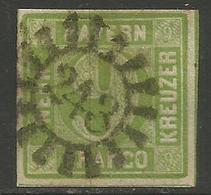 Bavaria - 1850-8 Numeral 9k Yellowish-green Used    SG 17 - Bavaria