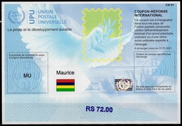 MAURICE MAURITIUS  Is41B  RS 72.00  20170802 AA International Reply Coupon Reponse Antwortschein IAS IRC Hologram MINT * - Mauritius (1968-...)