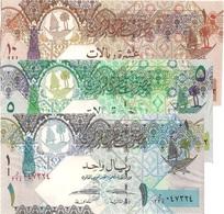 Qatar UNC, Set Of 3 Excellent New Banknotes (1, 5 &10 Riyals) - Qatar