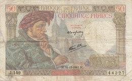 Billet 50 F Jacques Coeur Du 18-12-1941 FAY 19.17 Alph. J.149 - 1871-1952 Anciens Francs Circulés Au XXème