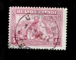 RUANDA URUNDI.(COB-OBP)  1937 - N°103  *SCENES INDIGENES, ANIMAUX ET PAYSAGES*    4 F  Oblitéré Descentré - 1924-44: Used