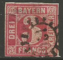 Bavaria - 1850-8 Numeral 3k Red Used    SG 22 - Bavaria