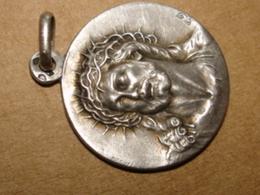 Pendentif Medaille Argent Jesus Notre Dame De Fouriere Tschudin - Colgantes