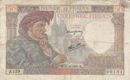 Billet 50 F Jacques Coeur Du 20-11-1941 FAY 19.16 Alph. J.139 - 1871-1952 Anciens Francs Circulés Au XXème