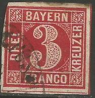 Bavaria - 1850-8 Numeral 3k Red Used    SG 23 - Bavaria