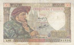 Billet 50 F Jacques Coeur Du 15-5-1941 FAY 19.11 Alph. J.85 - 1871-1952 Anciens Francs Circulés Au XXème