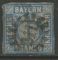 Bavaria - 1850-8 Numeral 6k Blue Used    SG 25 - Beieren