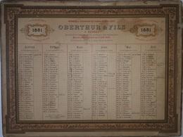 ILLE & VILAINE - RENNES - CALENDRIER DE 1881 - OBERTHUR & FILS - EDITEUR DES PTT - GRAND FORMAT - 485x365 - RECTO VERSO - Calendari