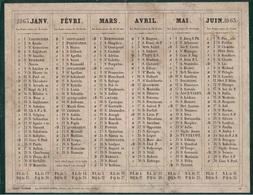 PARIS - CALENDRIER DE 1863 - RECTO VERSO - BON ETAT - EDITEUR DUBOIS-TRIANON RUE ST ANDRE DES ARTS PARIS . - Calendriers