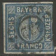 Bavaria - 1850-8 Numeral 6k Blue Used    SG 26 - Bavaria