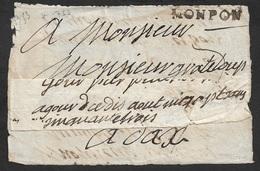 Devant De Lettre - MONPON 35mm X 5mm ( MONPONT SUR L'ISLE - DORDOGNE). Ind. 18 - Marcophilie (Lettres)