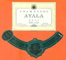 étiquette + Collerette + Etiq De Dos De Champagne Brut Ayala à Ay - 75 Cl - Champagner