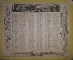 VAUCLUSE - CALENDRIER DE 1837- RECTO VERSO - AVEC CARTE VAUCLUSE - COINS ARRONDIS - FORMAT 295x240 - Calendari