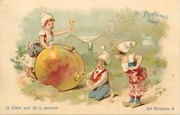 -ref-B164- Publicite - Magasin Au Printemps - Paris -les Boissons-le Cidre - Alcool - Enfants - Illustrateurs - Magasins - Publicité