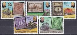 Elfenbeinküste Ivory Coast Cote D'Ivoire 1979 Postwesen Rowland Hill Eisenbahn Railways Lokomotiven Trains, Mi. 606-0 ** - Côte D'Ivoire (1960-...)