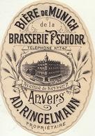 Etiquette De Bière En 1893 Brasserie Schorr Anvers Ringelmann - Beer