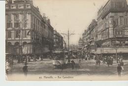 CPA  - MARSEILLE - RUE CANNEBIERE - 55 - ANIMEE - GD CAFE RICHE - CHOCOLAT LOUIT - TRAMS - PHOTOGRAPHIE - Canebière, Centro