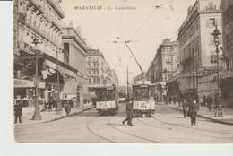 CPA  - MARSEILLE - LA CANNEBIERE - ANIMEE - TRAMS - - Canebière, Centre Ville