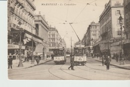 CPA  - MARSEILLE - LA CANNEBIERE - ANIMEE - TRAMS - - Canebière, Centro