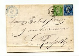 France N°20 Et 22 Sur Lettre D'Aigrefeuille à La Rochelle - Septembre 1971 - 2 Scans - (B2004) - 1849-1876: Klassieke Periode