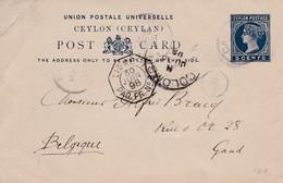 Carte Ceylon Vers Gand ( Belgique ) Légèrement Abîmée 1898 - Poste Aérienne