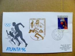 Cover Barbados Special Cancel Olympic Games Atlanta 1996 Basketball Sport Centennial Centenary - Barbades (1966-...)